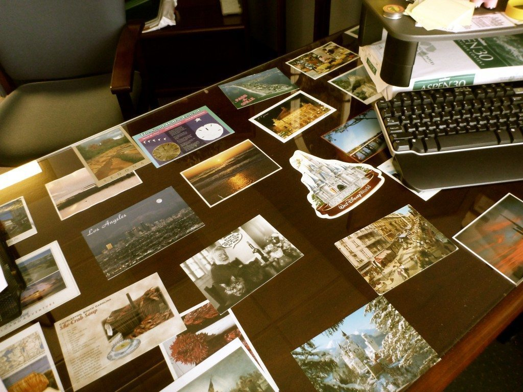 postcards-under-desk-decorating-office