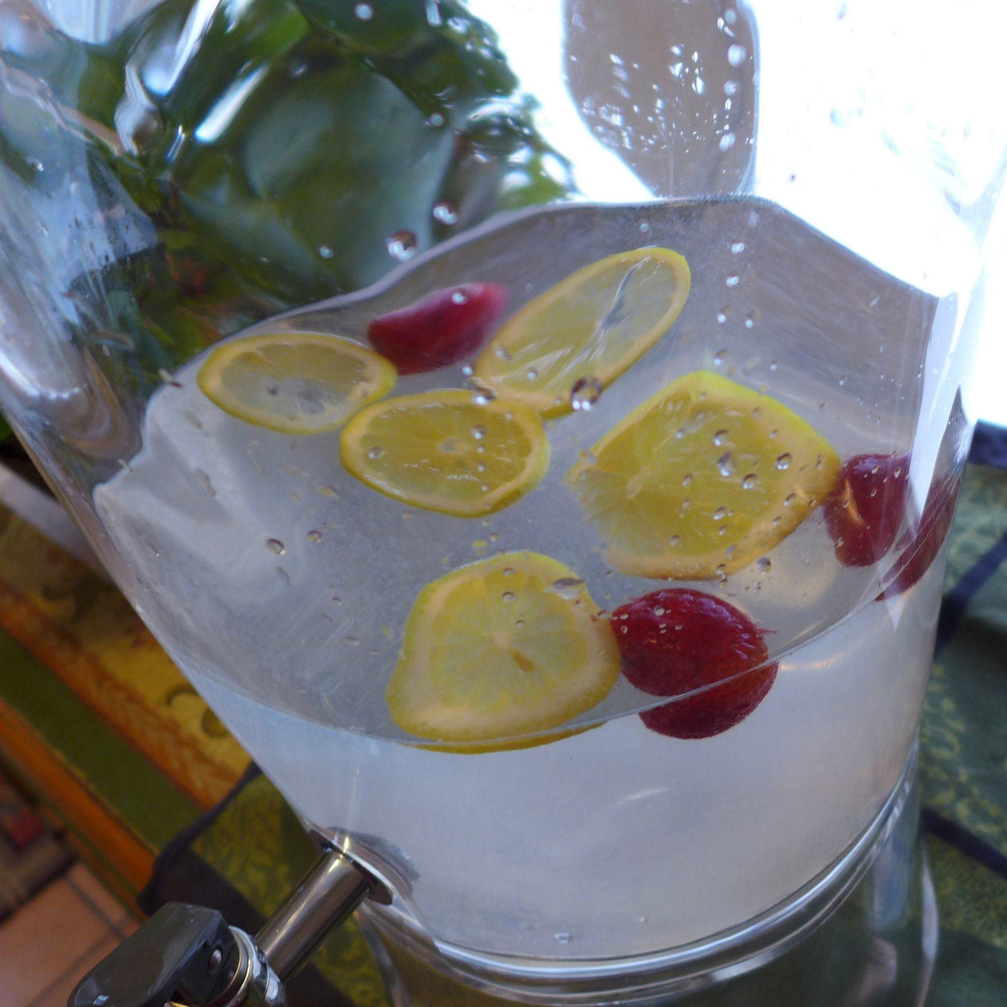 lemons strawberries fruit water