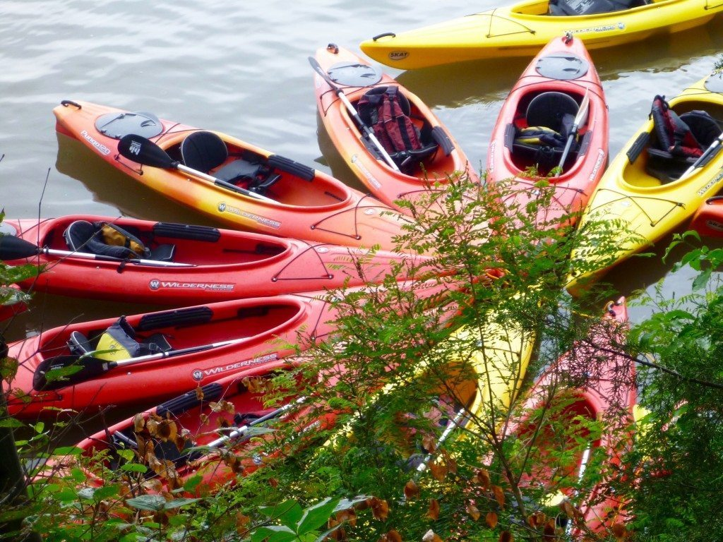 colorful kayaks tied up at Bannerman Island.