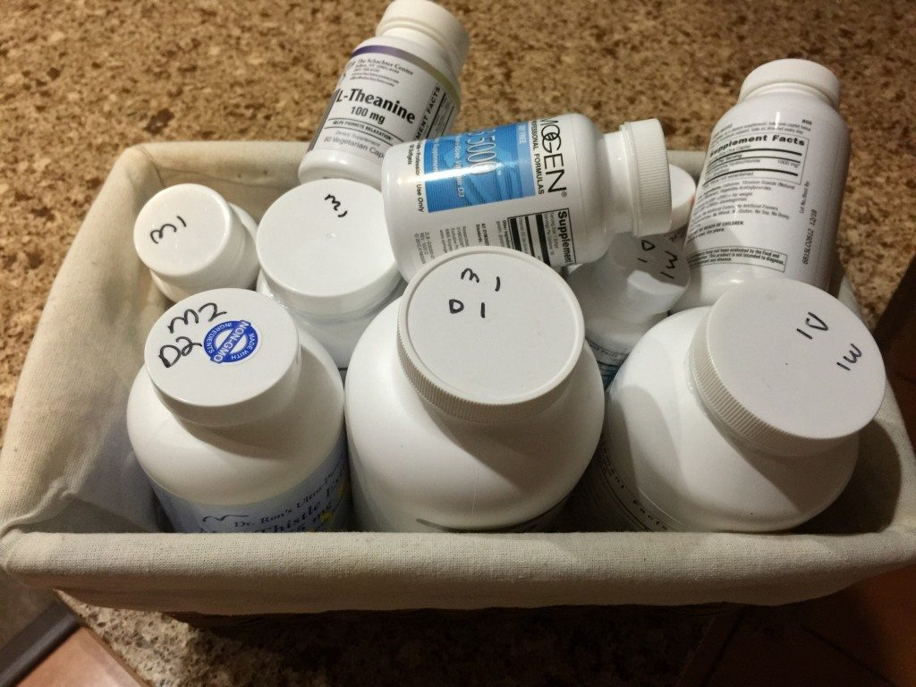 bottles of pills in a basket