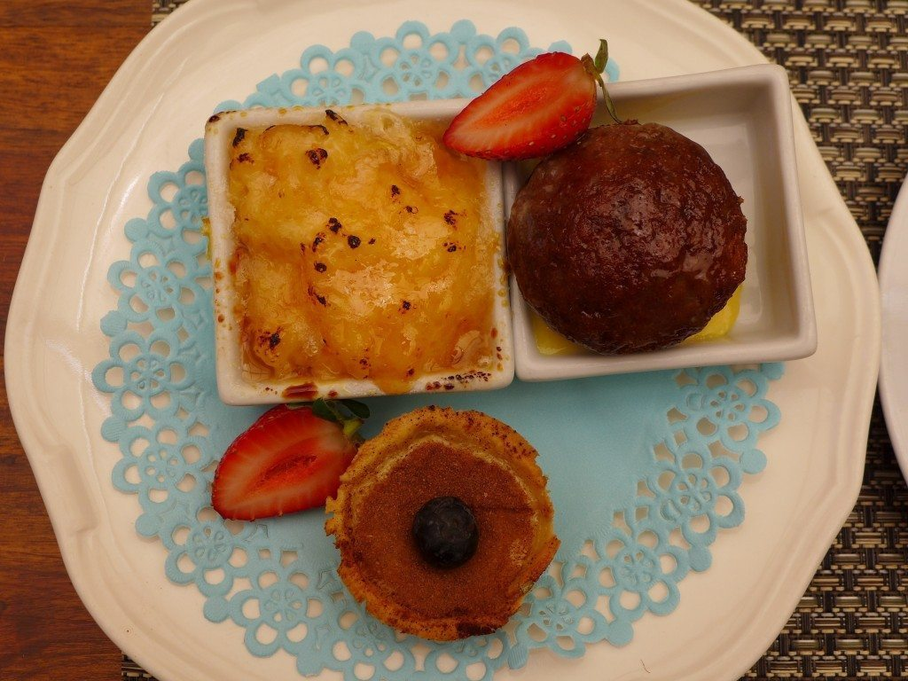 Selection of South African desserts on a plate in Stellenbosch, home of South Africa wine tour