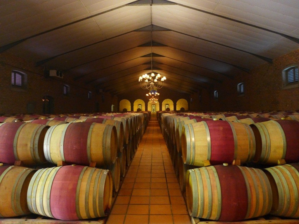 Wine casks inside holding room at the Waterford Estate, home of a Stellenbosch wine tour