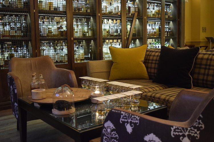 Earth toned sofas for enjoying Edinburgh scotch tasting at The Balmoral Hotel
