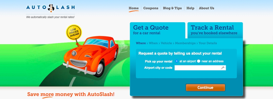 Save money on car rentals by using AutoSlash.