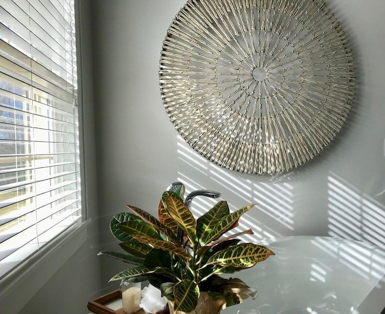 Woven Willow Wheel From Pottery Barn Makes The Perfect Spa Bathroom  Statement And Is A Great