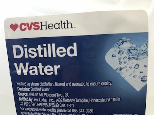 distilled water label
