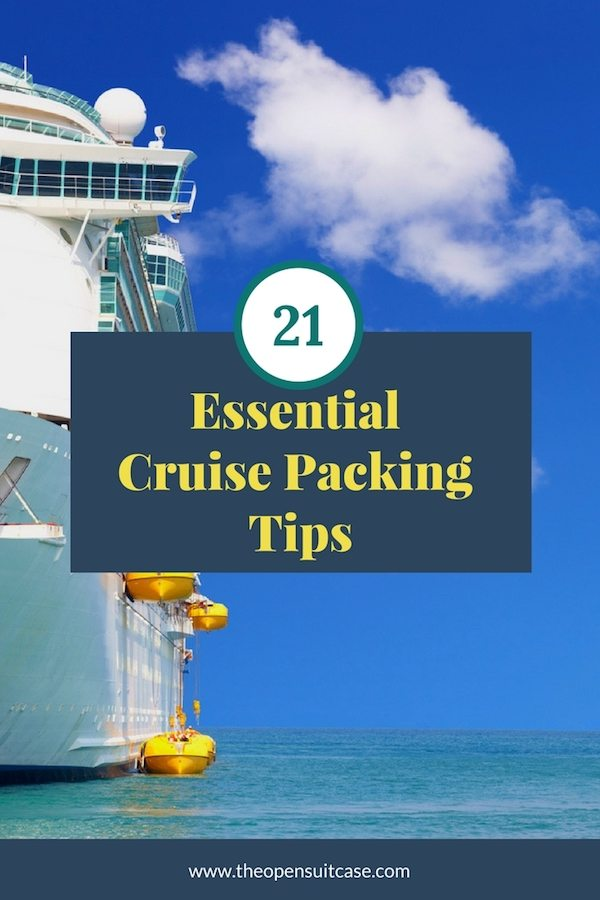 vertical image of a large cruise ship and 21 essential cruise packing tips