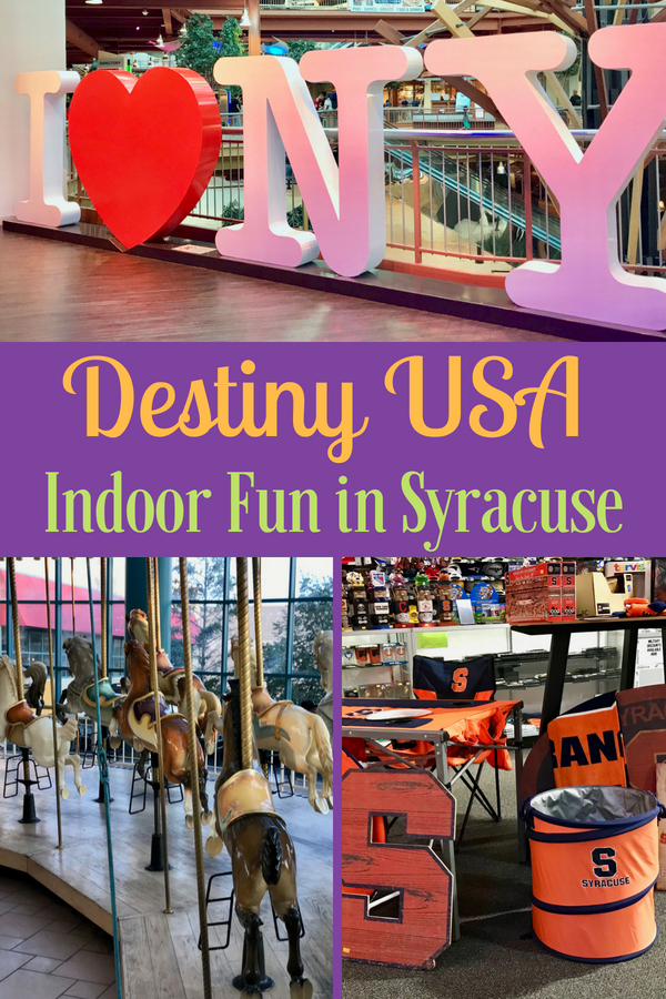 Looking to escape the weather in Syracuse, NY? Check out Destiny USA - a massive mall and entertainment complex. Here's info about Destiny USA hours, restaurants, carousel and more. When visiting Syracuse, the Doubletree by Hilton is a super budget-friendly option that feels luxe! #visitsyracuse #mall #indoorfun #entertainment