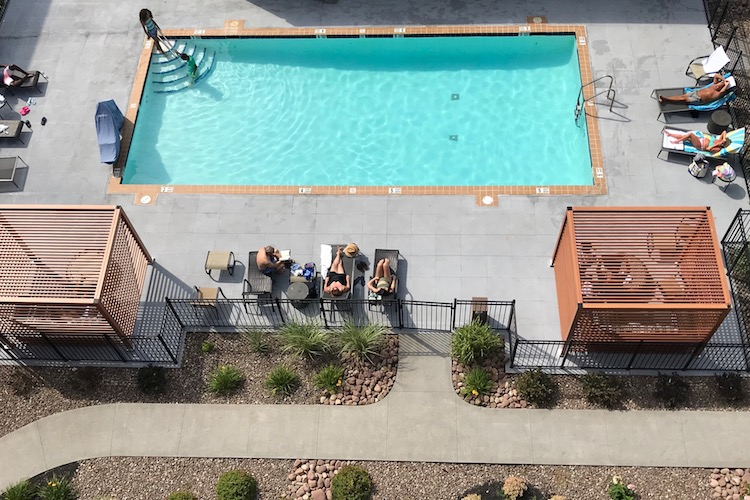 The outdoor pool at the Doubletree by Hilton in Syracuse, a good hotel to stay at when checking out the fun things to do at Destiny USA