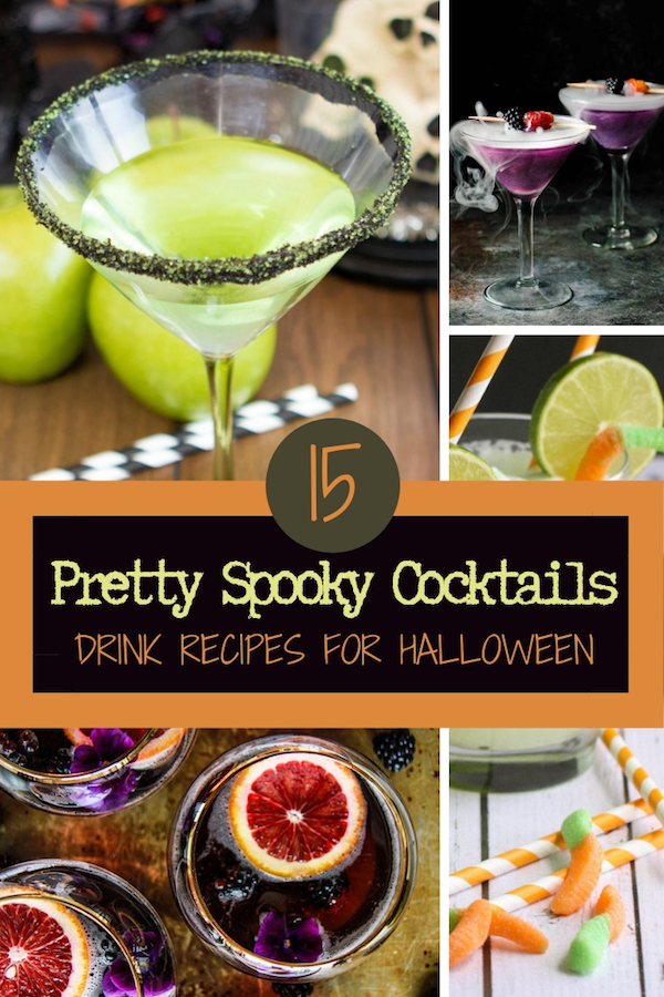 Wicked good cocktail recipes for your Halloween party, including a mocktail idea for the little ghouls and boys! #cocktailrecipes #partydrinks #fallcocktails #easydrinkrecipes